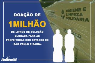 Indústrias Anhembi doa 1 milhão de litros de solução clorada